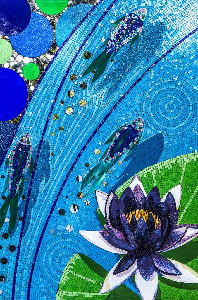 Fish, Bubbles and Water Lily Stained glass and mirror mosaic 1.2 x 1.8m. Private commission - Glenunga