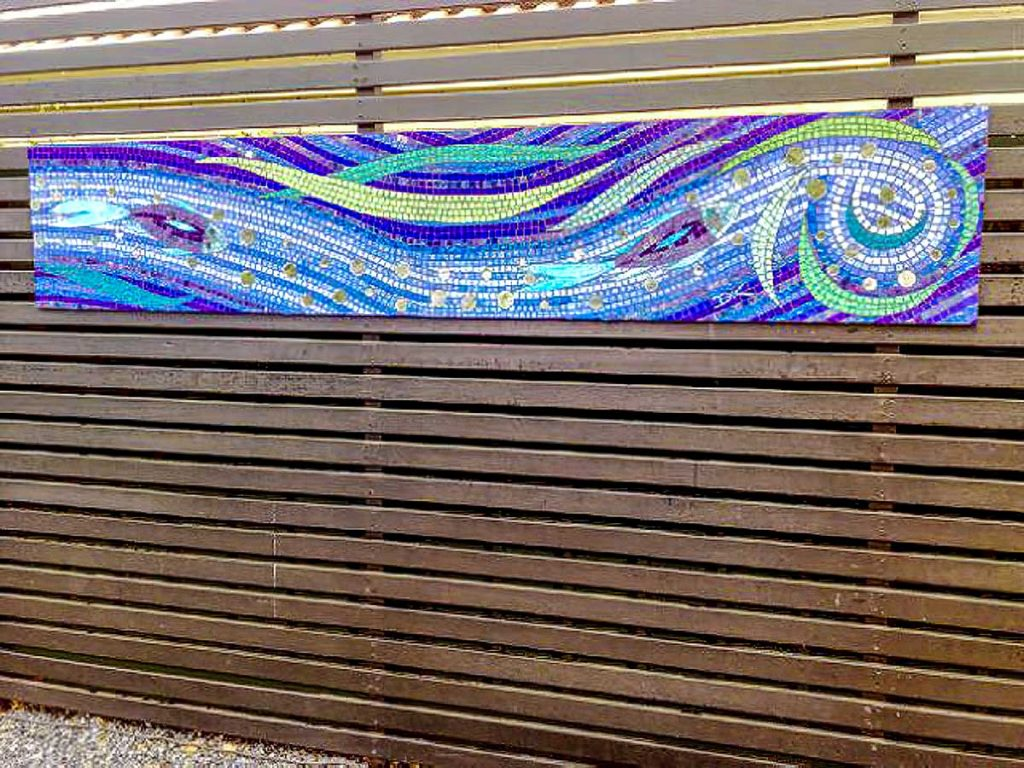 Fish and Water Triptych 3 x 2.4m x .45m stained glass mosaic panels Rosslyn Park private commission