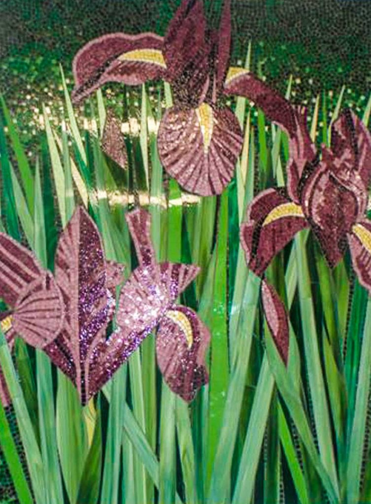 Iris Mosaic 1.8m x 1.2m stained glass mosaic. Commissioned by Brighton Florist Shop
