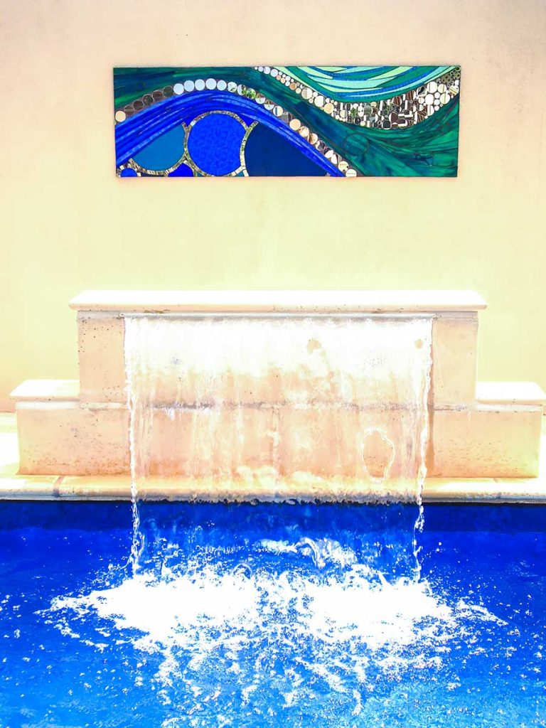 Wave Water Feature 1.58m x .5m stained glass and mirror mosaic Private commission - Clapham