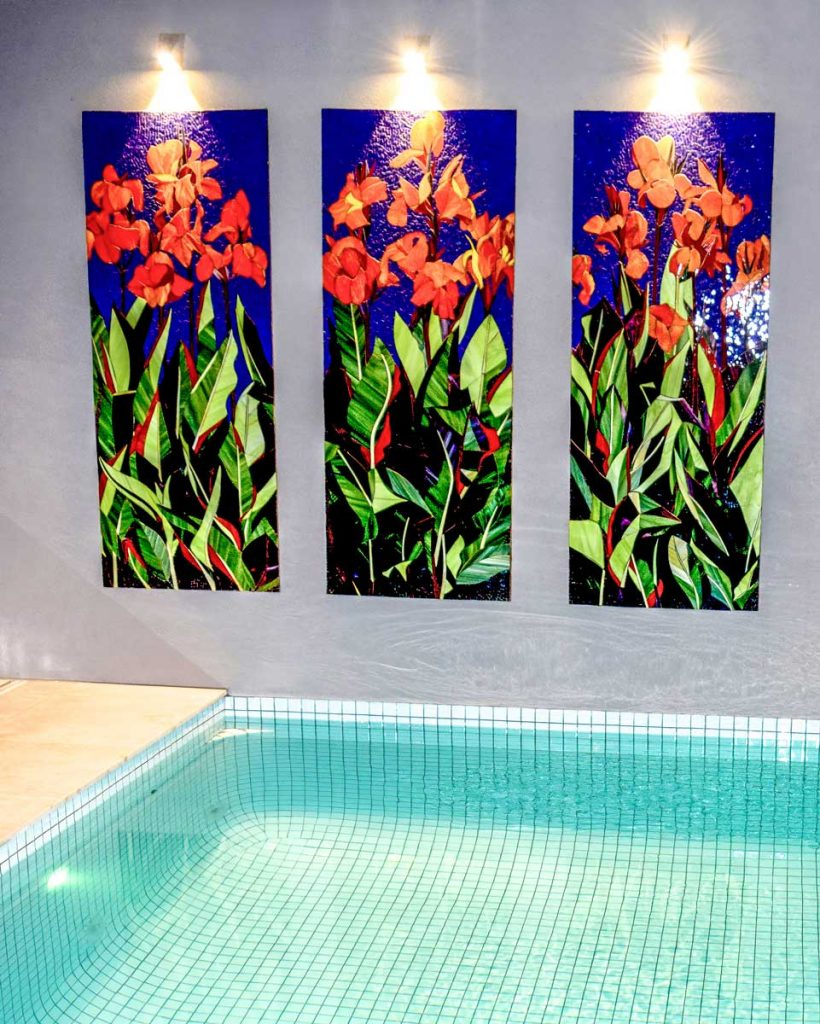 Canna Lily Triptych 3 x 1.75m x .7m Canna Lily stained glass mosaic panels. Private commission Glenelg