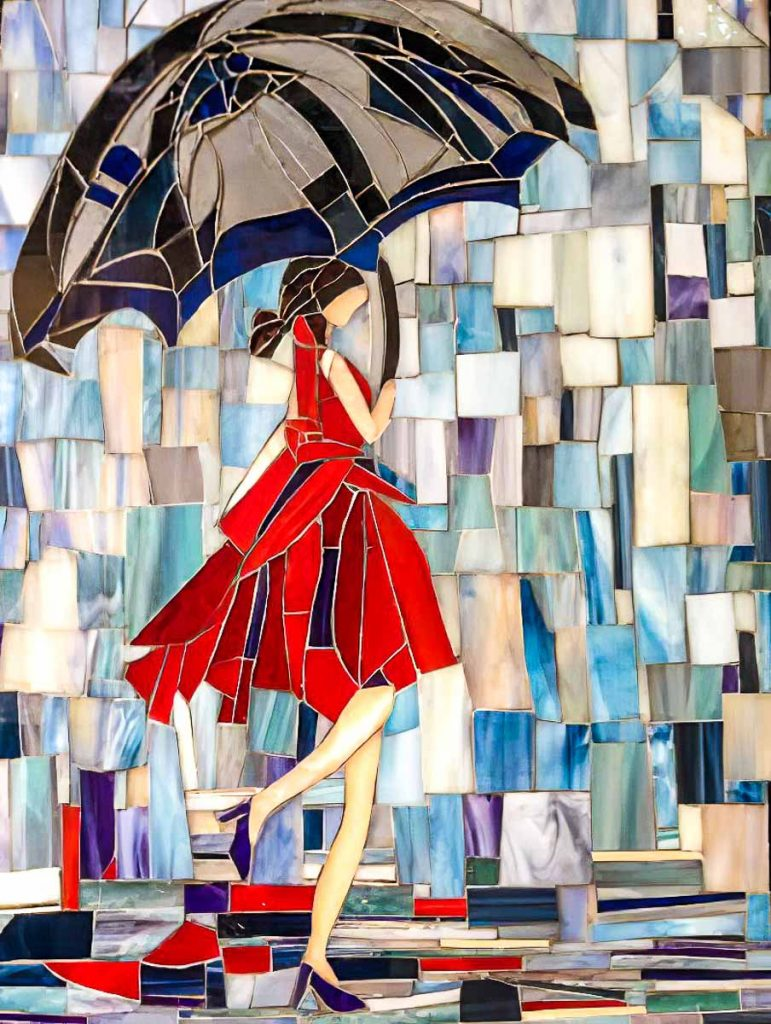Artist: Cindy Brownrigg Girl in the Red Dress Monday Mosaic classes at The Glass Emporium