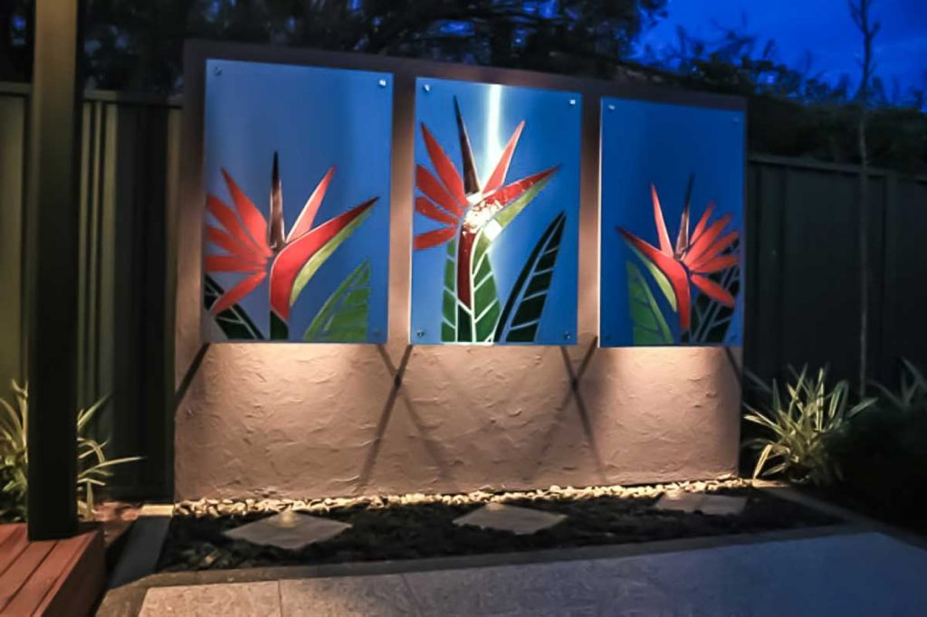 Stainless Steel and Mosaic Bird of Paradise Triptych 3 x .8m x 1.2m water jet cut stainless steel with mosaic inlay. Private commission - Vale Park