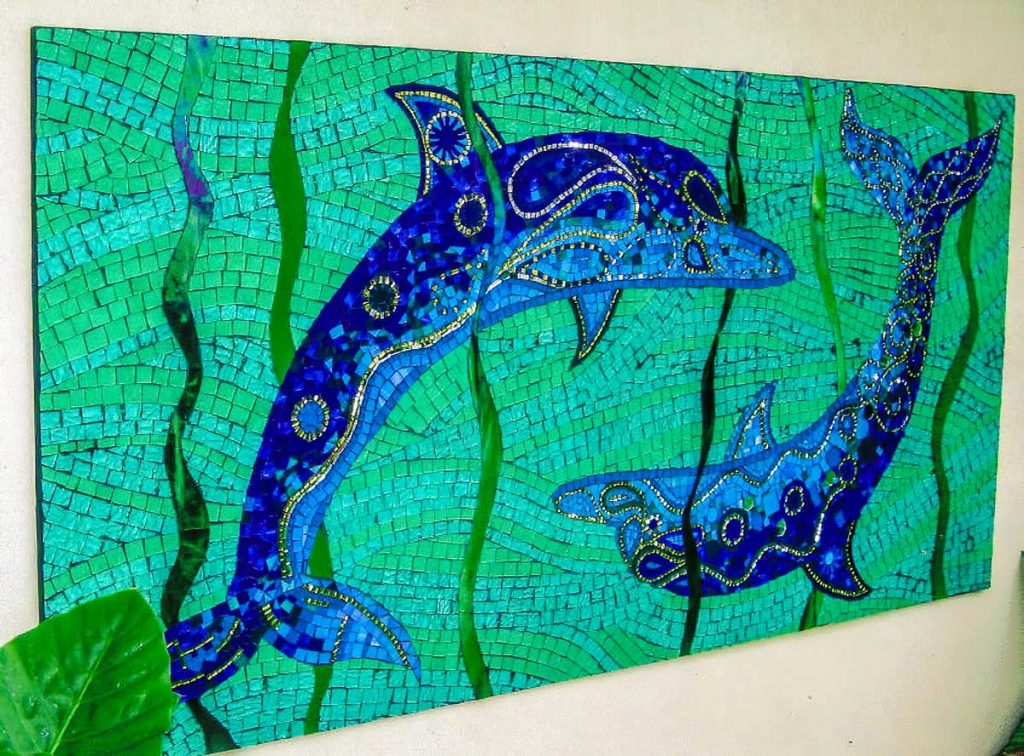 Dolphin Mosaic 1.8m x 1m stained glass and mirror mosaic. Private commission - Somerton