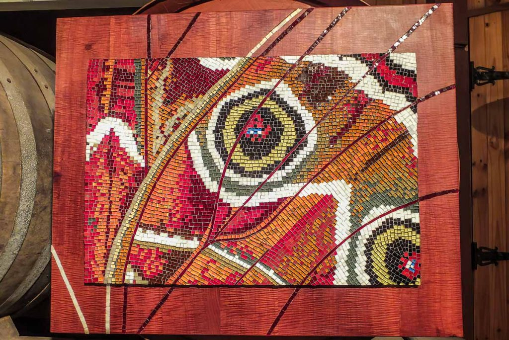 Metamorphosis Stained glass mosaic with mosaic inlay in the timber frame Sold at the MAANZ Exhibition at Rosemount Winery Gallery October 2013