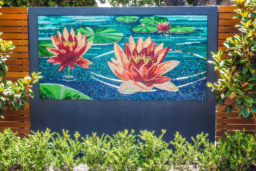 Water Lily 1m x 2m stained glass and mirror mosaic Private commission - Hyde Park
