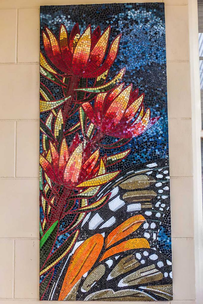 Leucadendron and Monarch Butterfly Mosaic 1 of 3 stained glass mosaic panels 1.5m x .65m Private commission - Seacliff