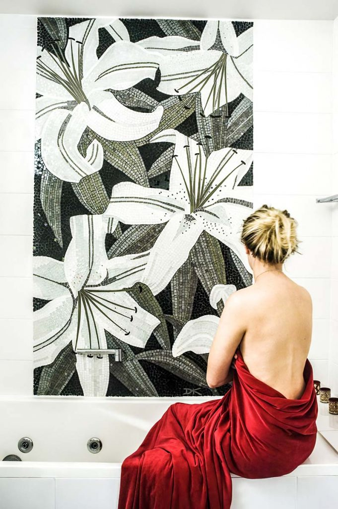 Lilium Shower Mosaic  1.8m x 1.2m stained glass and mirror mosaic