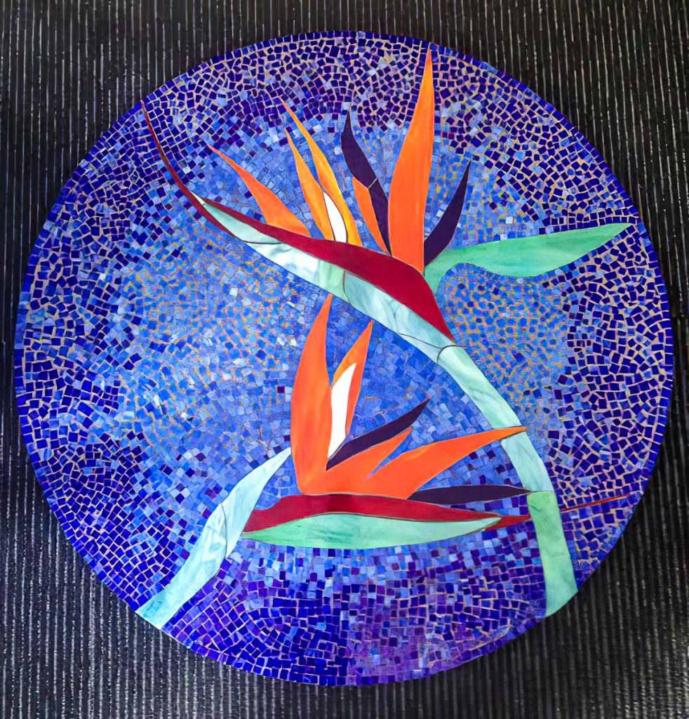 Artist: Deb Thorpe Stained Glass Bird of Paradise Monday Mosaic classes at The Glass Emporium