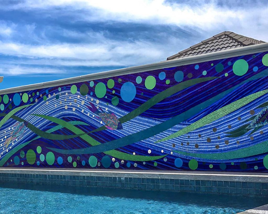 Glenelg Pool Splash Back 6M x 1.2m stained glass splash back. Private commission Glenelg North