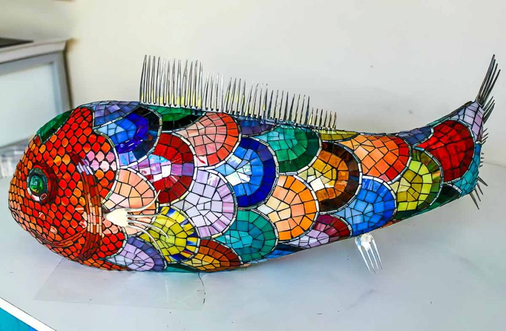 Artist: Erika Brolese Mosaic Fish Sculpture Tuesday morning mosaic classes at The Glass Emporium