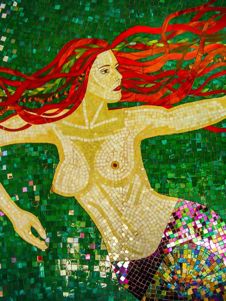 Mermaid Bathroom Mosaic 6m square stained glass and mirror mosaic Private Commission - One Tree Hill