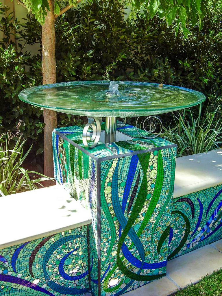 Garden Seat Water Feature Stained glass and mirror mosaic Private commission - Westbourne Park