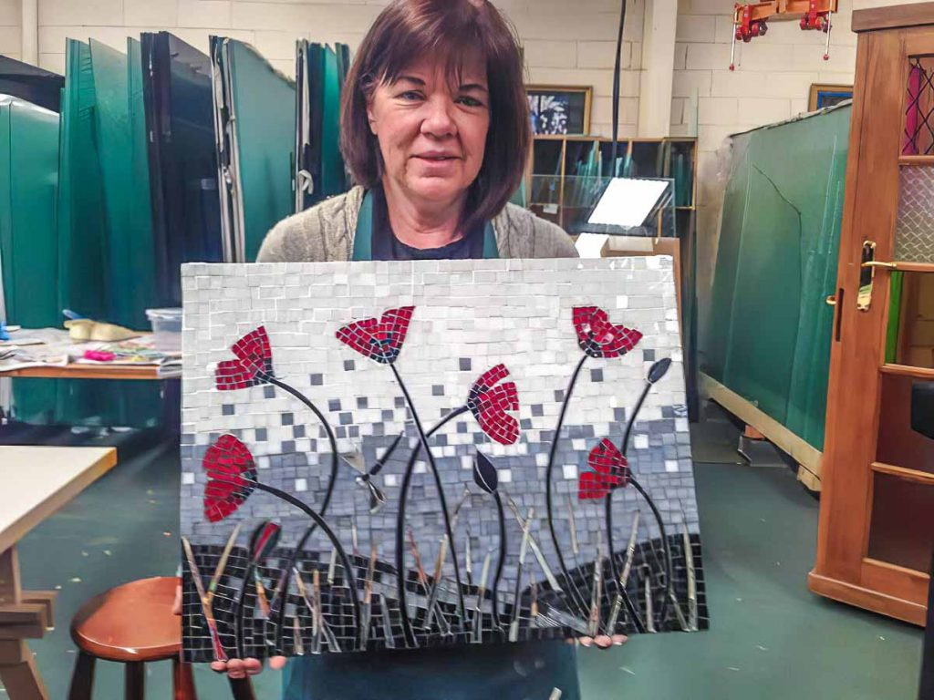 Heather's stained glass Poppy mosaic
