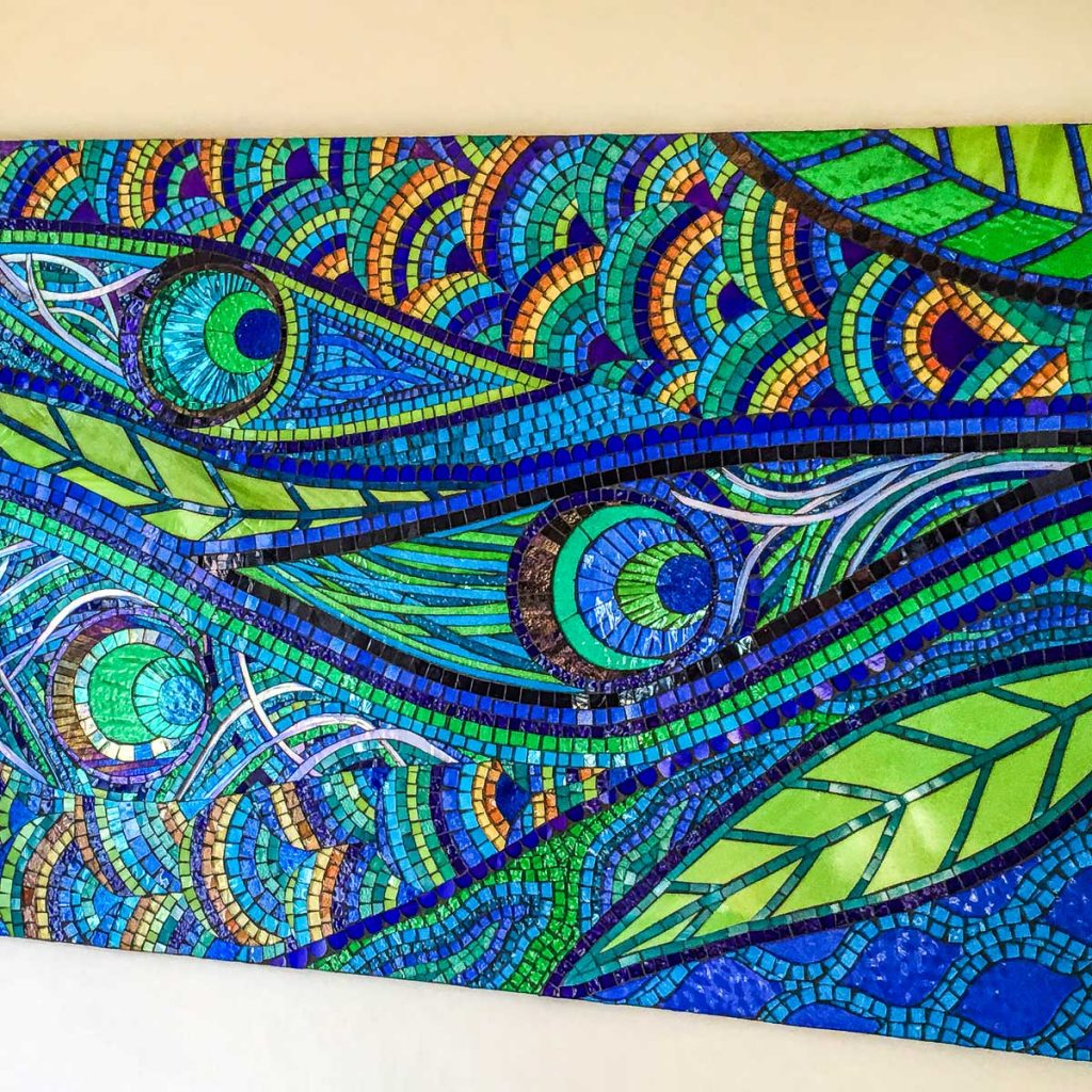 Peacock Feathers 90cm x 70cm stained glass mosaic (Suitable for Outdoors)