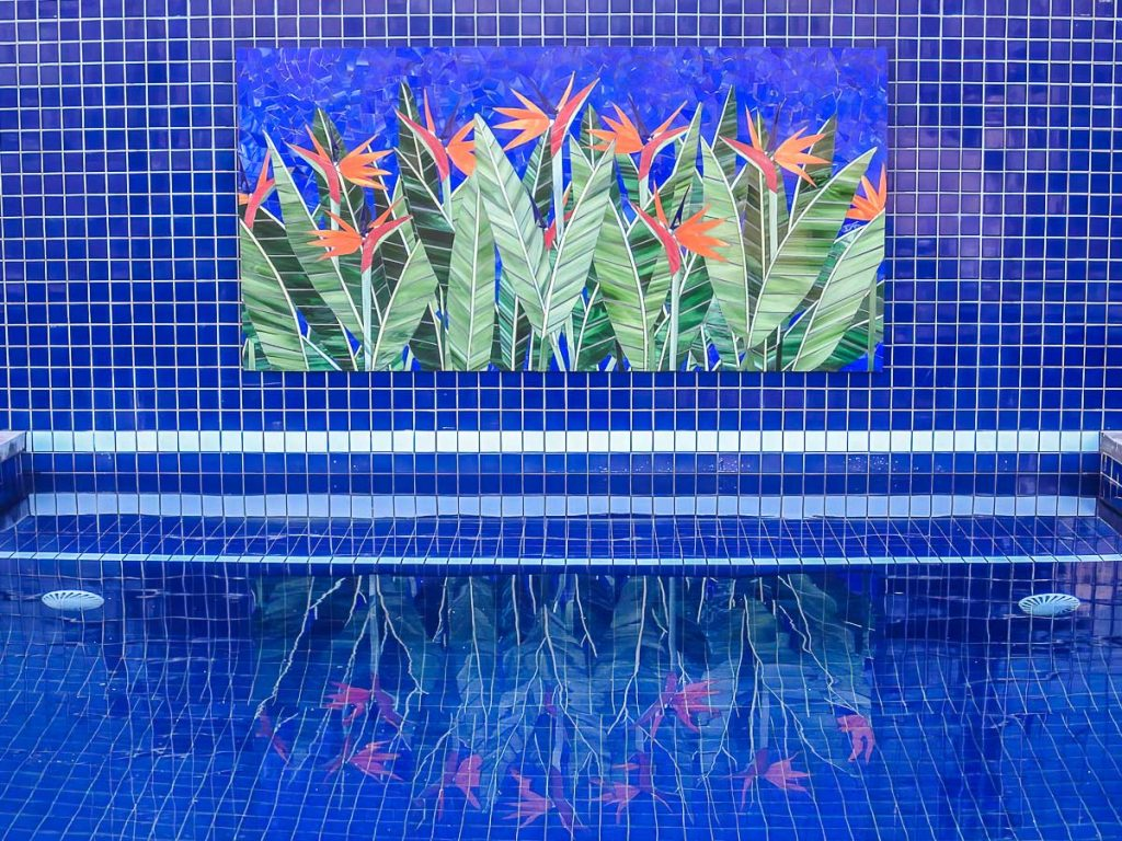 Bird of Paradise Water Feature 1.8m x 1m stained glass mosaic. Private commission - St Georges