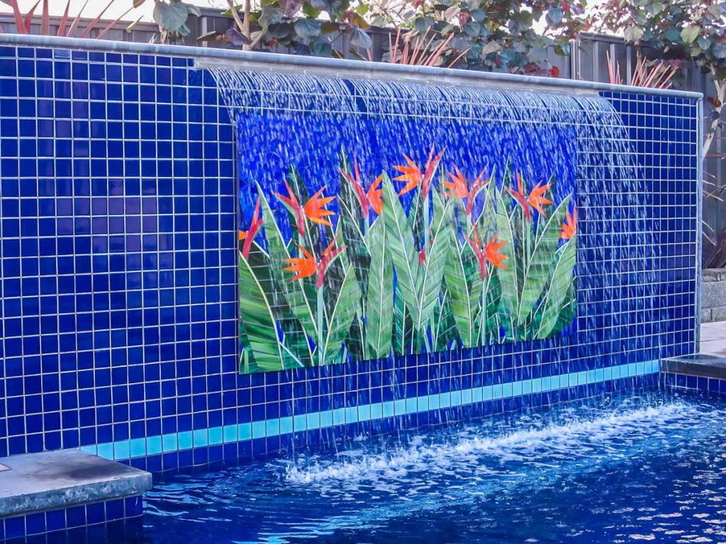 Bird of Paradise Water Feature 1.8m x 1.1m stained glass mosaic.  Private commission - St Georges