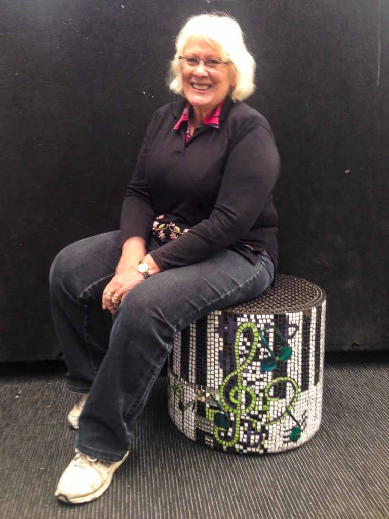 Glenys Heinrich and her ottoman