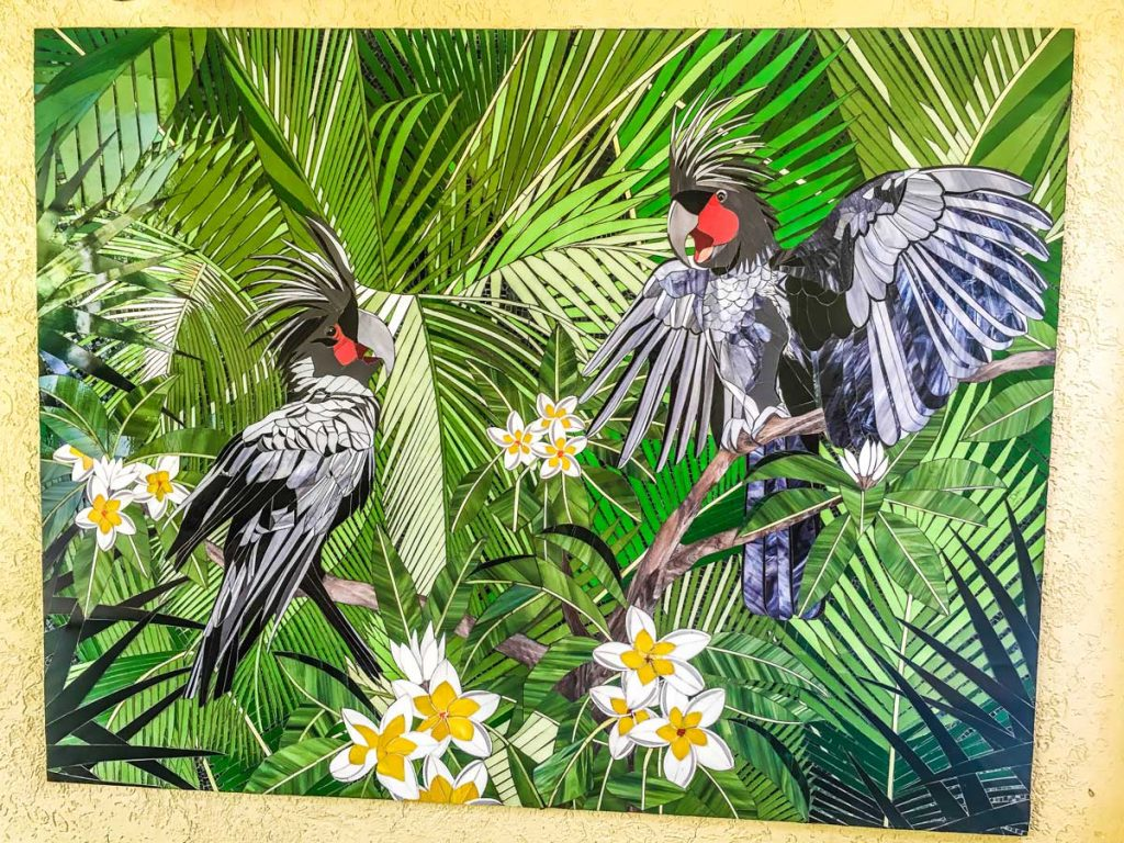 Palm Cockatoo Mosaic 2.2m x 1.7m stained glass Palm Cockatoo mosaic. Private commission Cairns North Queensland. Thank you to Martin Willis Photography for allowing me to use his palm cockatoo image as a reference.