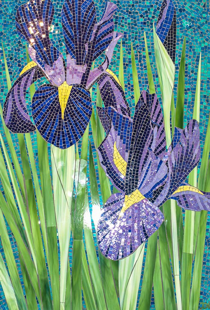 Purple Iris 1.2m x .9m stained glass mosaic.