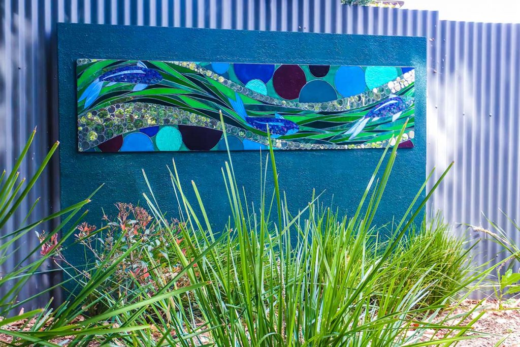JB Cleland Kindy Mosaic 2.2m x 0.525m stained glass and mirror mosaic