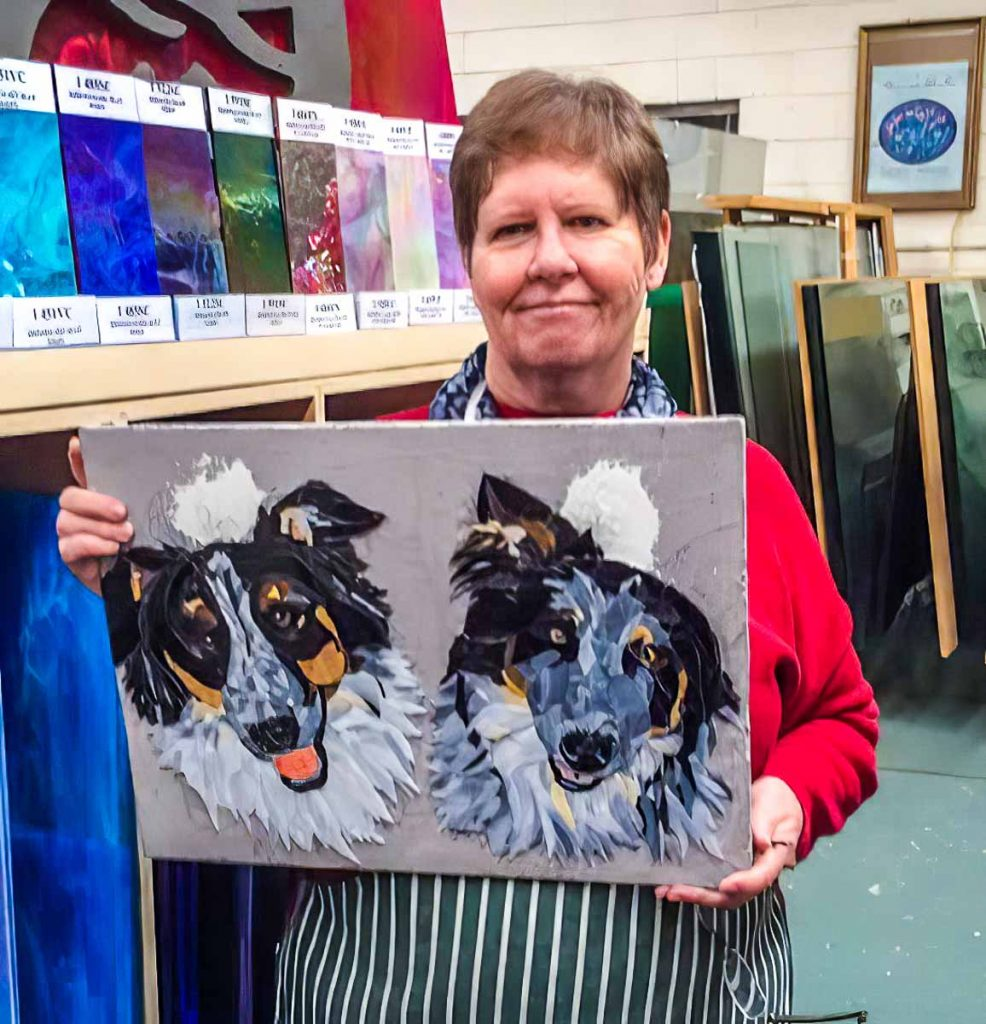 Artist: Jill Dall Jill's progress on her portrait of her dogs Tuesday morning class at The Glass Emporium