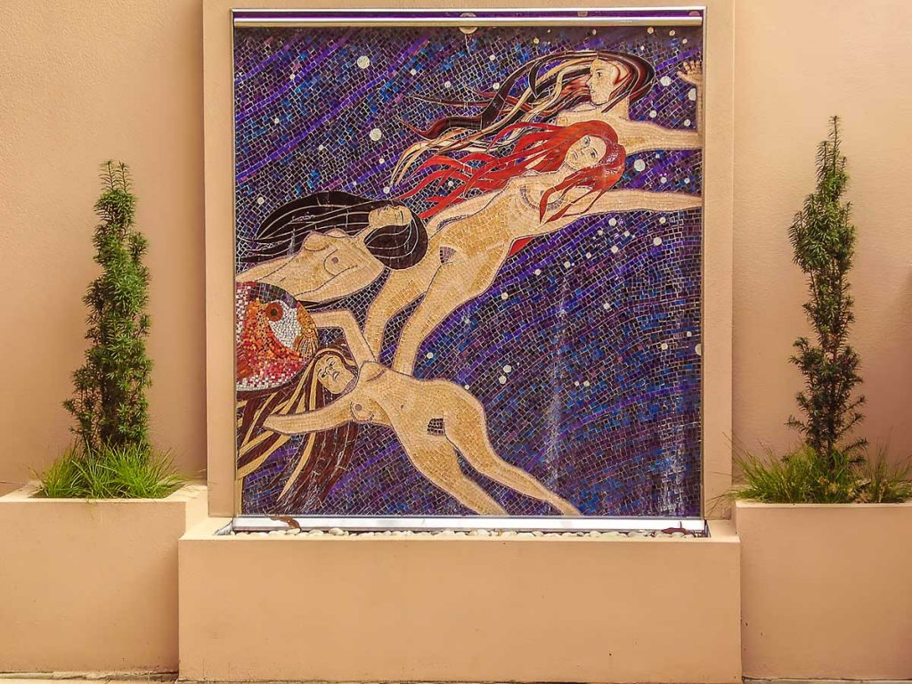 Water Nymphs 1.5m x 1.5m stained glass mosaic water feature inspired by Gustaff Klimt. Private commission - Norwood