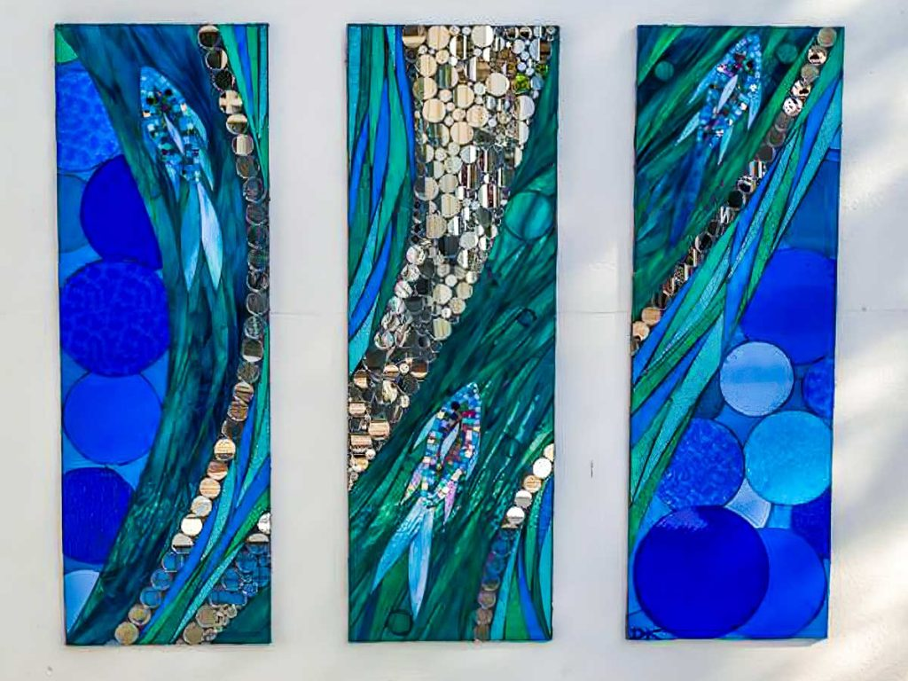 Fish and Mirror Bubble Triptych 3 x .4m x 1.2m stained glass and mirror panels. Private commission