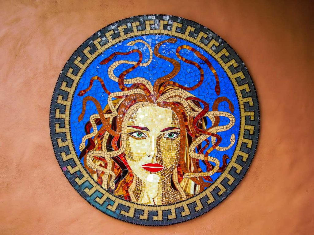 Medusa 1.2m diameter stained glass mosaic Private commission