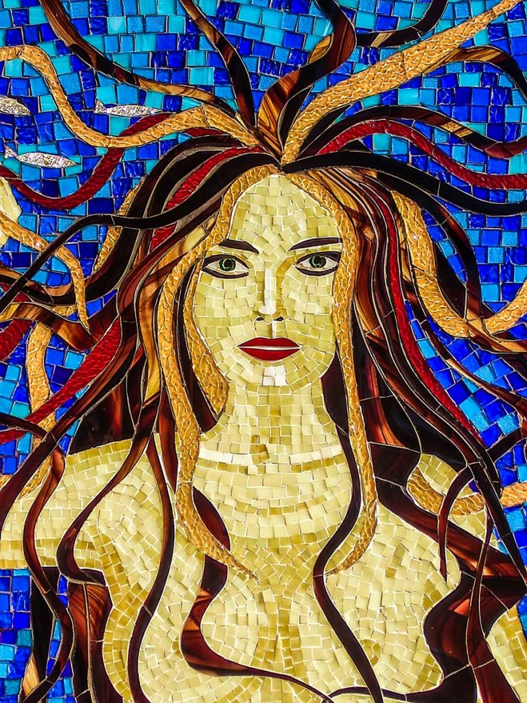 Mermaid Water Feature 1.2 x 1m stained glass mosaic water feature Private commission - Fullarton
