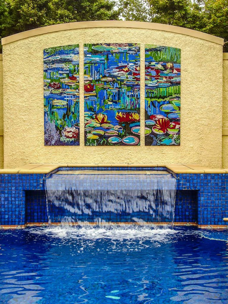 Monet Inspired Water Lily Mosaic 1 x 2.2m x 1.2m and 2 x .7m x 1.2m stained glass mosaic. Private commission - Urrbrae