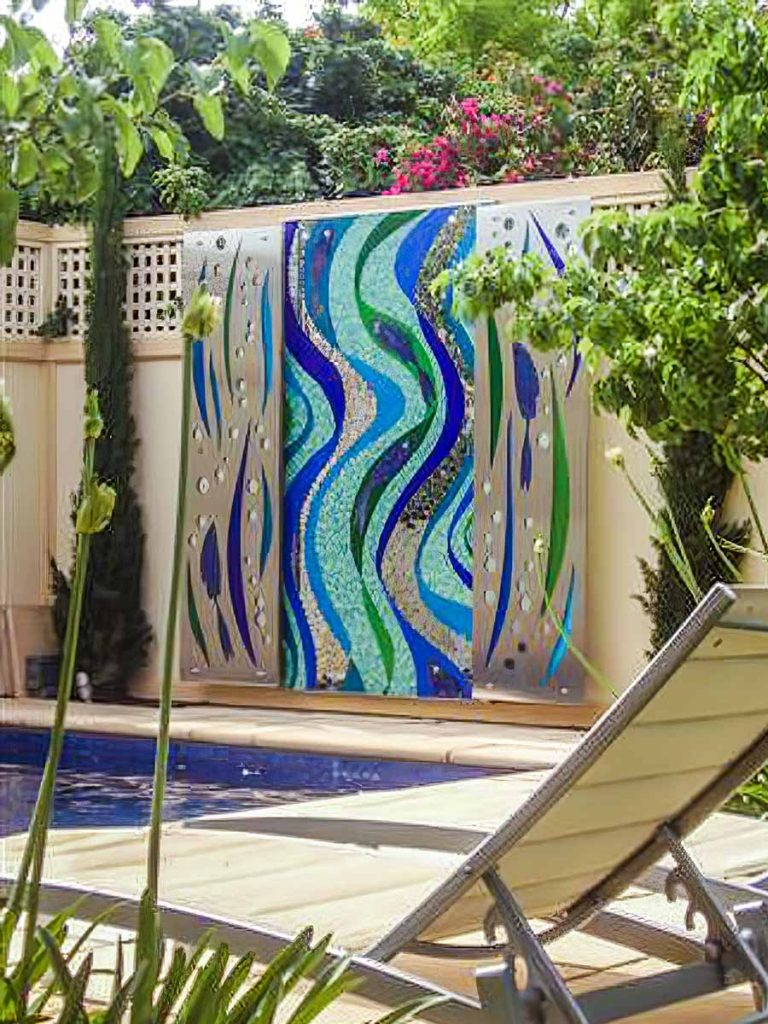 Fish Mosaic and Stainless Steel Panels with Mosaic Inlay