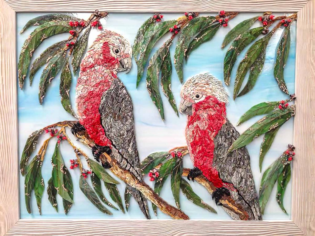 Artist: Marilla Ormond's stained glass and smalti Galah mosaic. Monday afternoon mosaic classes at The Glass Emporium