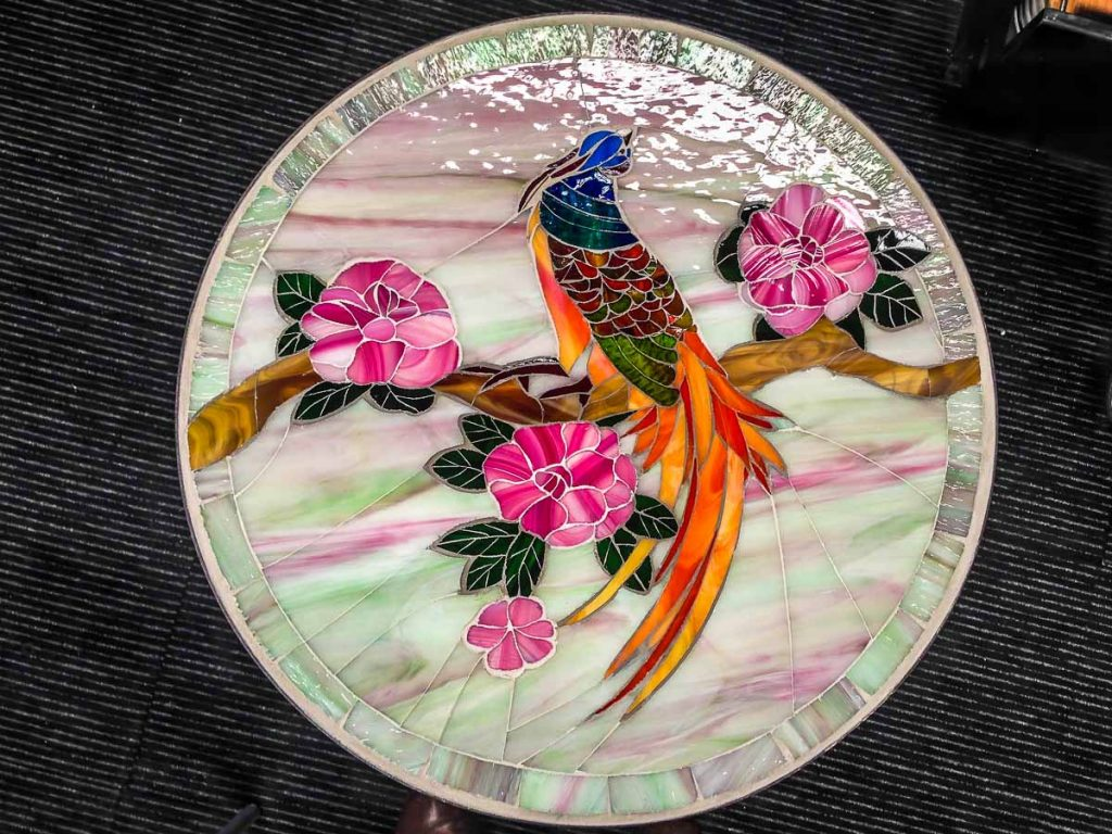 Peacock table top by Marilla Ormond