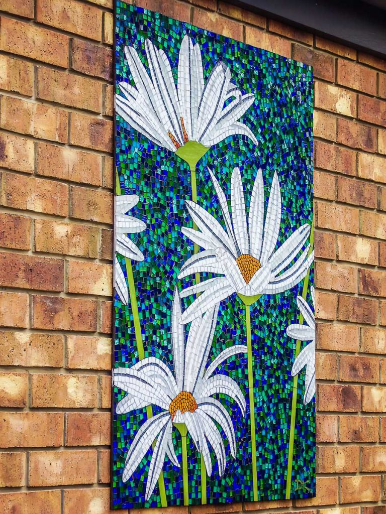 Daisy Mosaic 1.2m x .9m stained glass mosaic. Somerton Park
