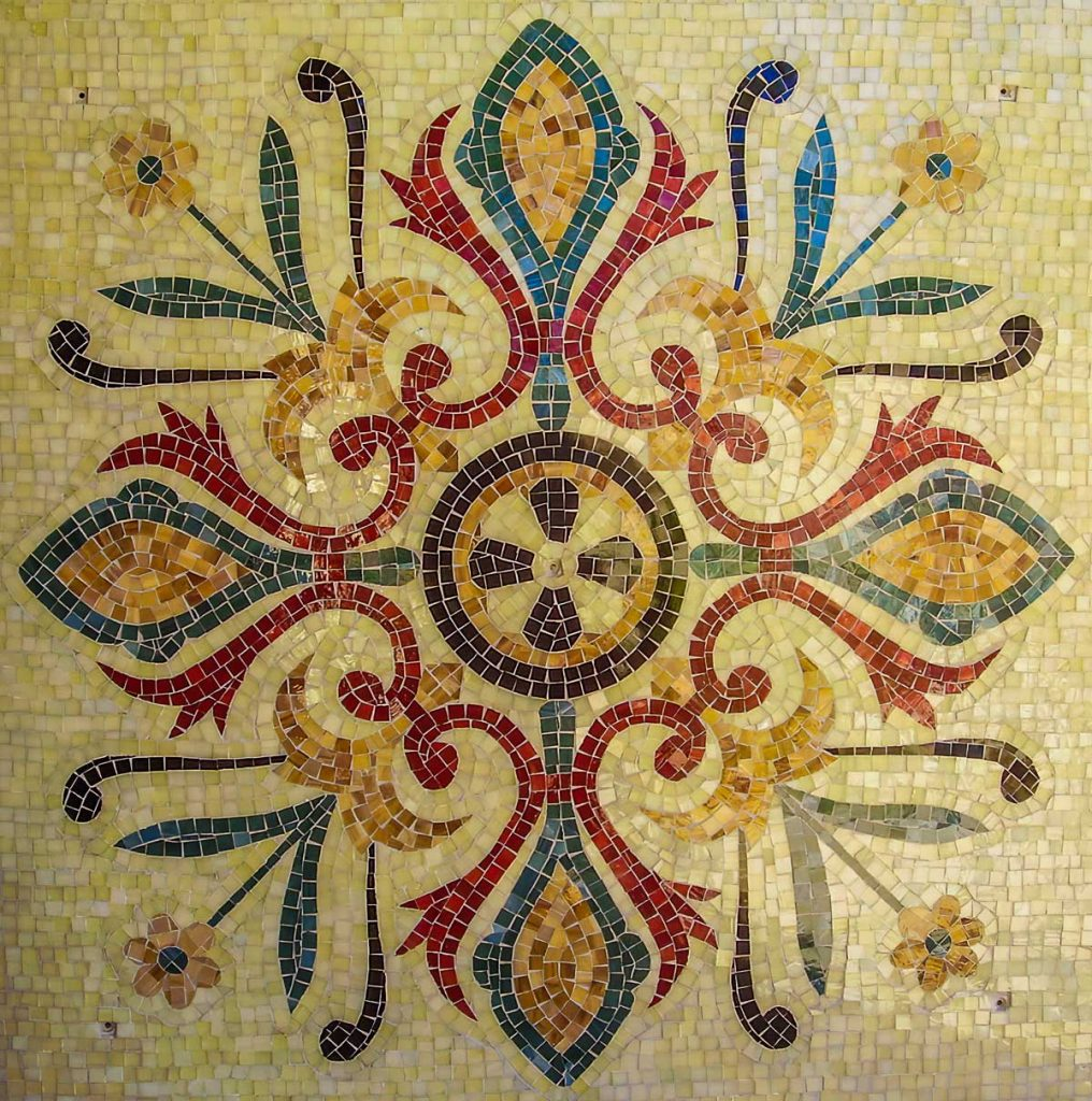 Floor Pattern Mosaic 1.2m x 1.2m stained glass mosaic inspired by an ancient floor mosaic in France. Private commission - Glenelg