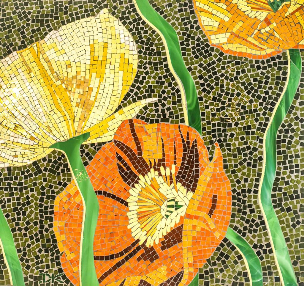 Poppy Mosaic .7m x .7m stained glass mosaic.