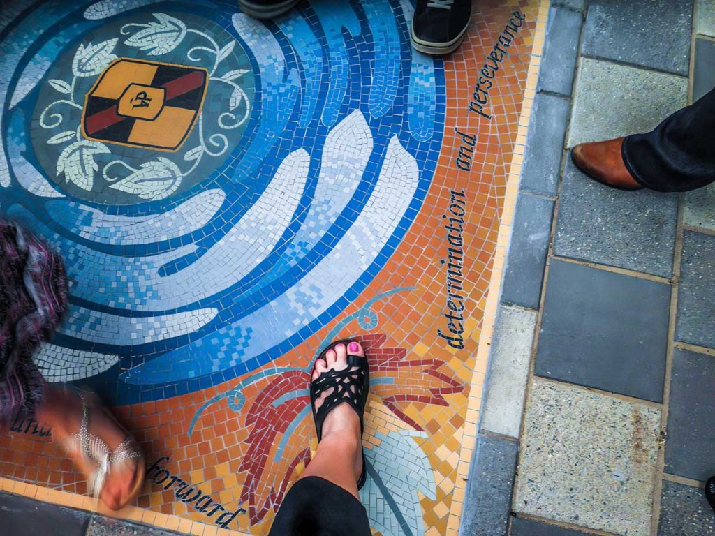 Piazza Della Valle Floor Mosaic 1.5m x 1.5m unglazed ceramic floor mosaic Commissioned by Onkaparinga Council
