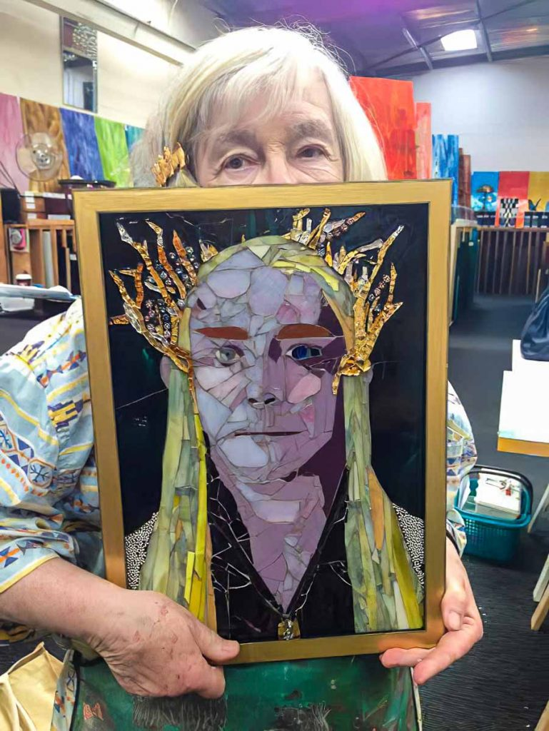 Susan Woenne-Green with her portrait of Legolas' father from Lord of the Rings
