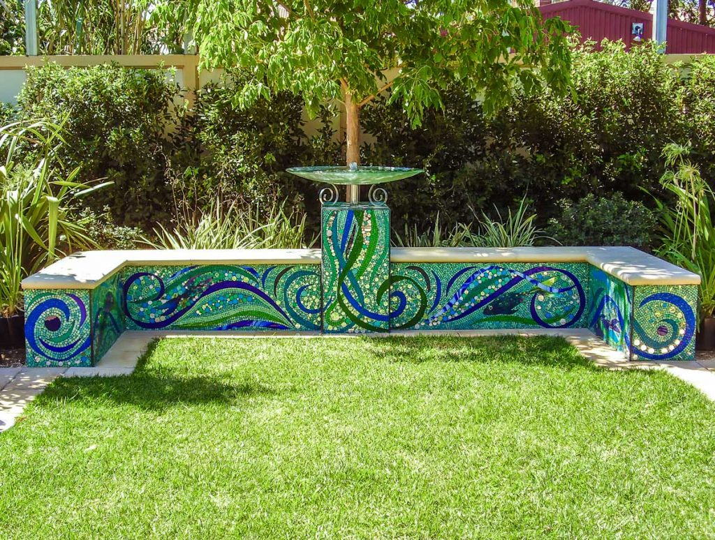Garden Seat Water Feature Stained glass mosaic garden seat with water feature 6 square m Private commission - Westbourne Park