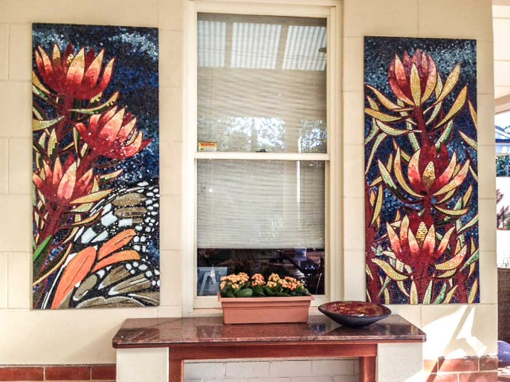 Leucadendron and Monarch Butterfly Triptych 2 of 3 stained glass mosaic panels 1.5m x .65m Private commission - Seacliff