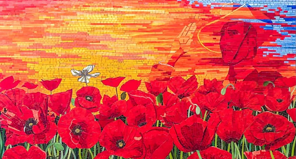 Field of Poppies with a Soldier's Spirit in the Sky 1.65m x 0.9m stained glass mosaic commissioned by the Radiology Department of the Repatriation and General Hospital - Daw Park