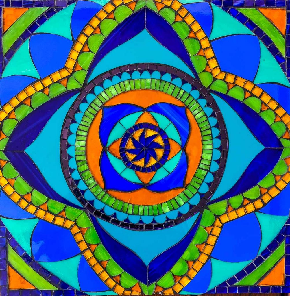 Mandala 30cm x 30cm Stained Glass Mosaic