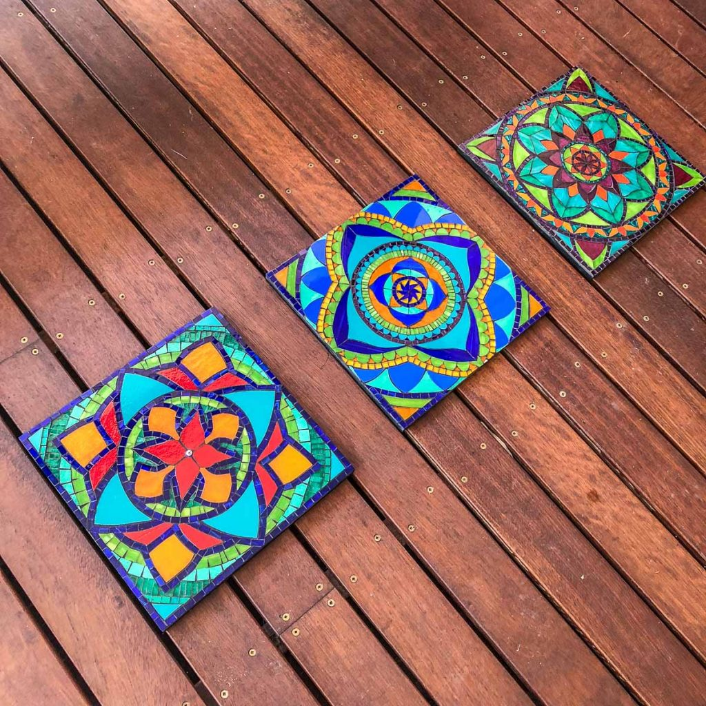 Mandala Triptych 3 x 30cm x 30cm Stained Glass Mosaic