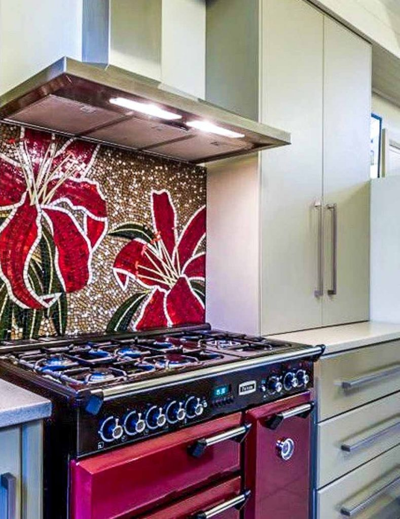 Lilium Kitchen Splashback  1m x 0.720m stained glass mosaic kitchen splashback. Private Commission: Torrens Park