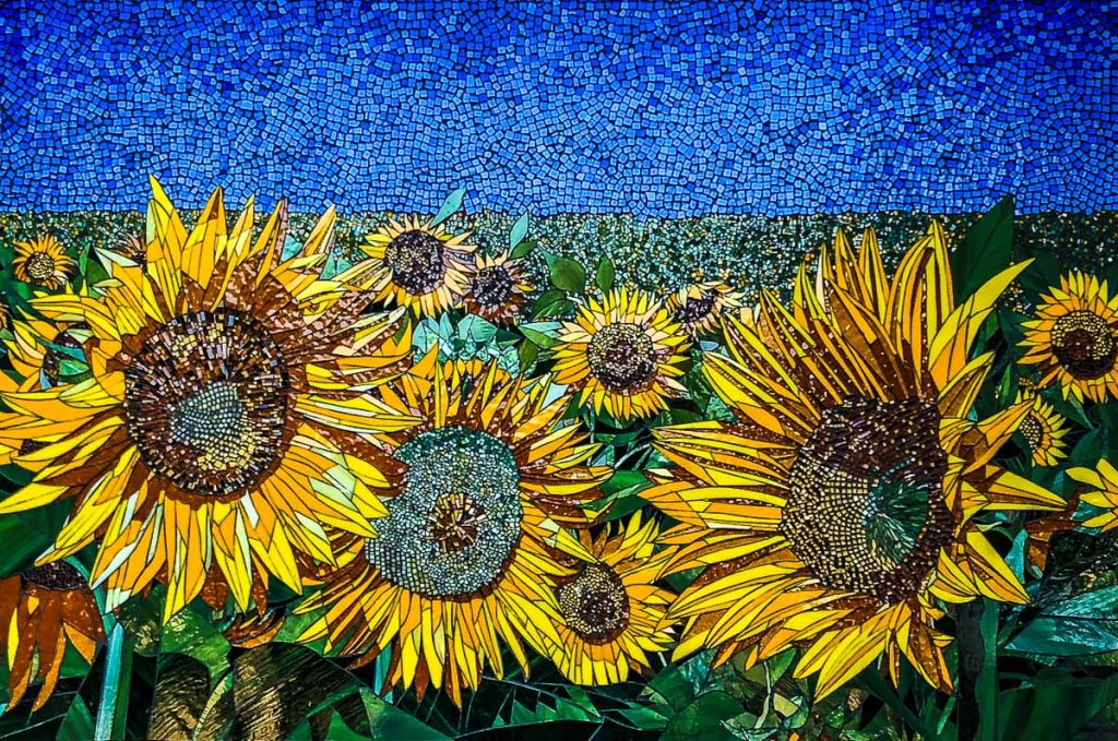 Sunflower Mosaic 1.35m x 0.9m stained glass mosaic. Private Commission: St Georges