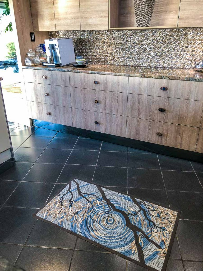 Reflection of a Gum Tree 1m x 0.570m unglazed porcelain kitchen floor mosaic - Floor mosaics