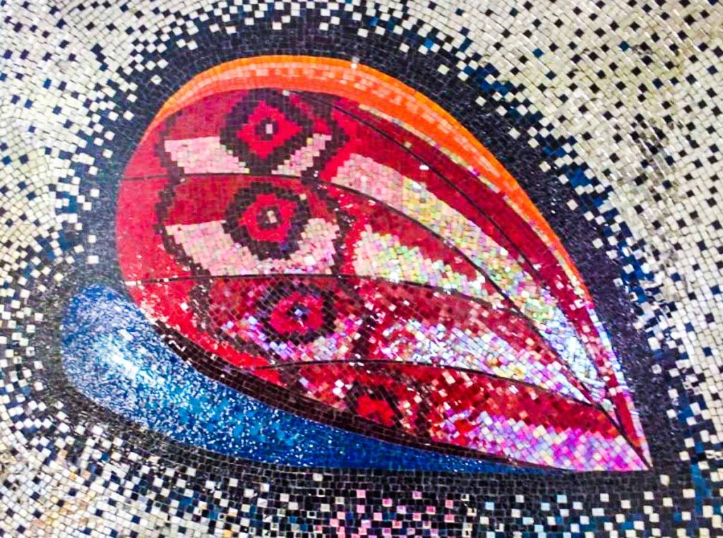 Heart / Butterfly Logo 0.750m x 1m stained glass and mirror mosaic. Commissioned by The Cardiovascular Centre, Norwood