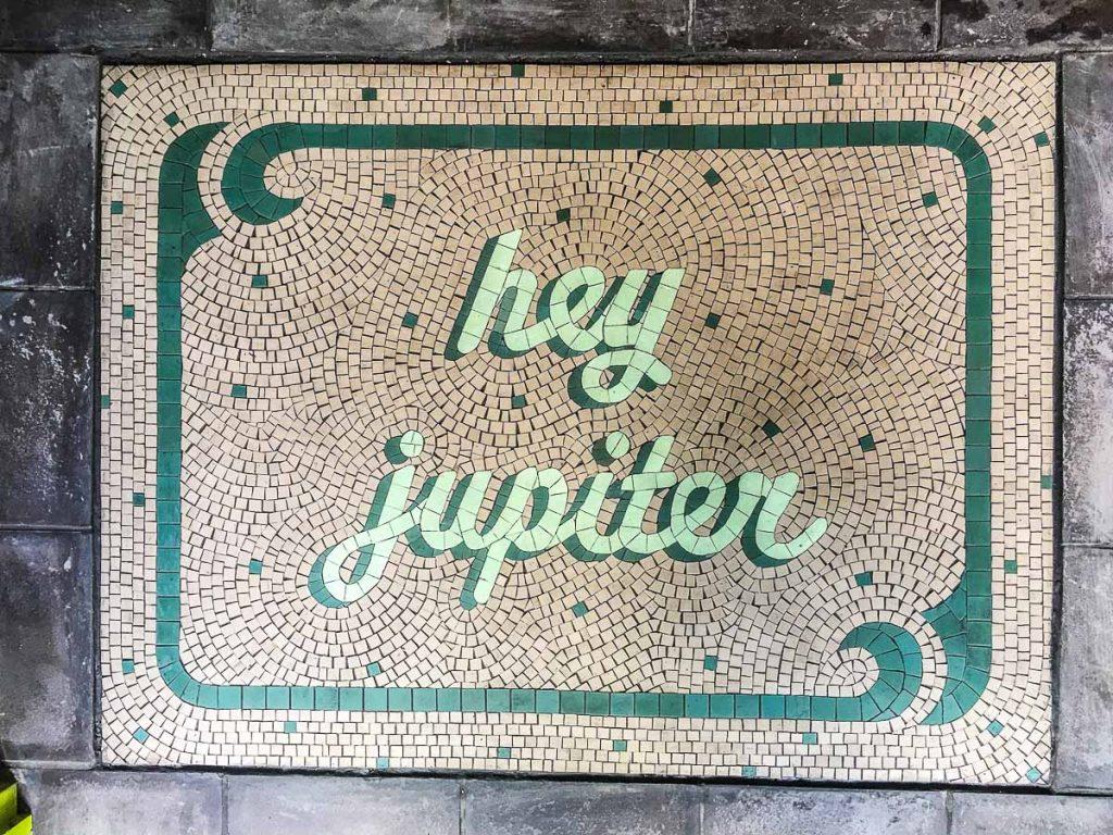 Hey Jupiter 0.6m  x 0.8m wide unglazed ceramic floor mosaic for Hey Jupiter Cafe, Ebenezer Place, East End Adelaide