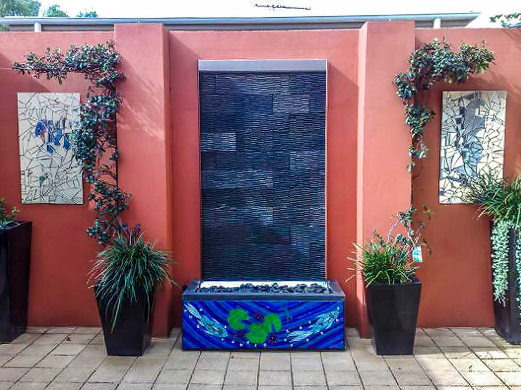 Fish and Water Lily Water Feature .35m x 1.18m stained glass mosaic with 2 x .45m x .8m mirror mosaics Private commission - Magill